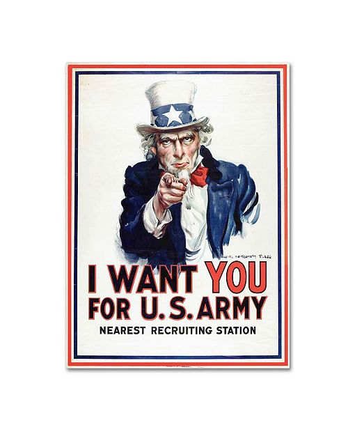 "Trademark Global James Montgomery Flagg 'I Want You' Canvas Art - 24"" x 18"""