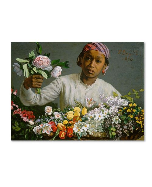 "Trademark Global Jean Frederic Bazille 'Young Woman with Peonies' Canvas Art - 19"" x 14"""