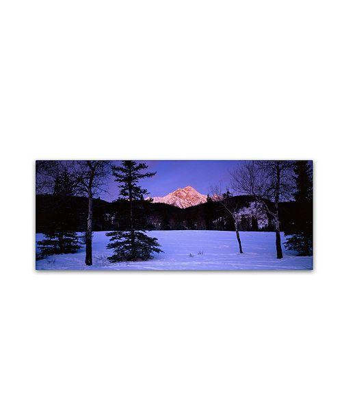"Trademark Global David Evans 'Pyramid Mountain-Canada' Canvas Art - 32"" x 10"""