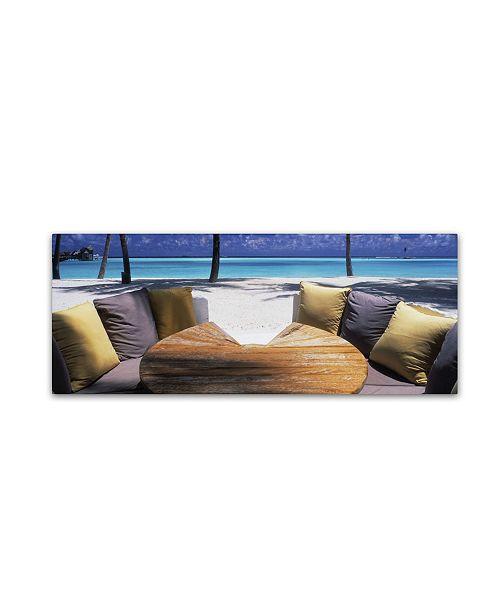 "Trademark Global David Evans 'Beach Bunker-Maldives' Canvas Art - 16"" x 47"""
