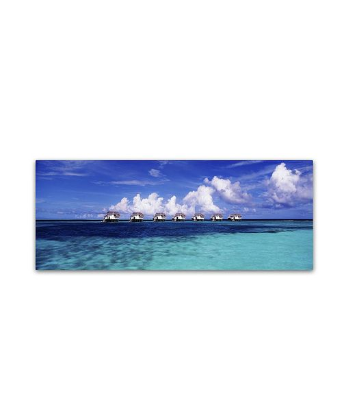 "Trademark Global David Evans 'Blue Lagoon-Maldives' Canvas Art - 10"" x 32"""