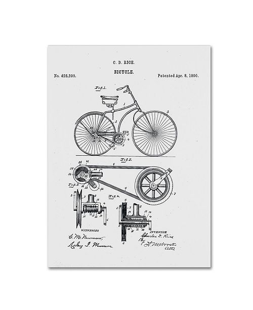 "Trademark Global Claire Doherty 'Bicycle Patent 1890 White' Canvas Art - 18"" x 24"""