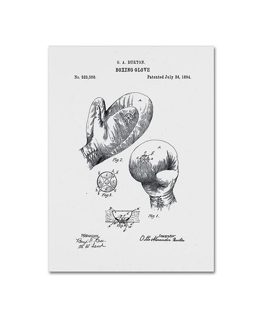 "Trademark Global Claire Doherty 'Boxing Gloves Patent 1894 White' Canvas Art - 18"" x 24"""