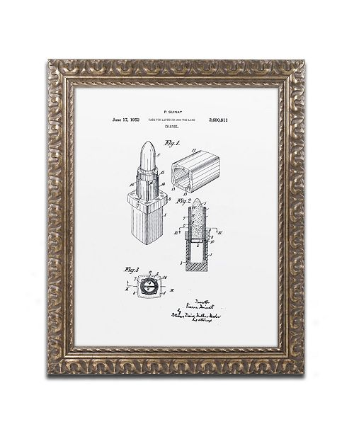 """Trademark Global Claire Doherty 'Chanel Lipstick Case Patent White' Ornate Framed Art - 16"""" x 20"""""""
