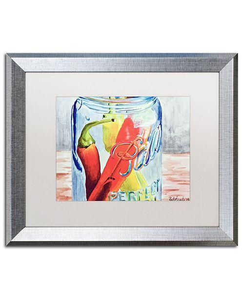 "Trademark Global Jennifer Redstreake 'Ball Jar with 3 Peppers' Matted Framed Art - 16"" x 20"""