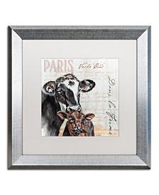 """Jennifer Redstreake 'Dans la Ferme Cow' Matted Framed Art - 16"""" x 16"""""""