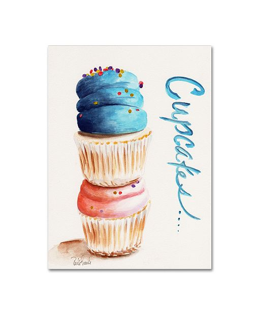 """Trademark Global Jennifer Redstreake 'Stacked Cupcakes with Words' Canvas Art - 14"""" x 19"""""""