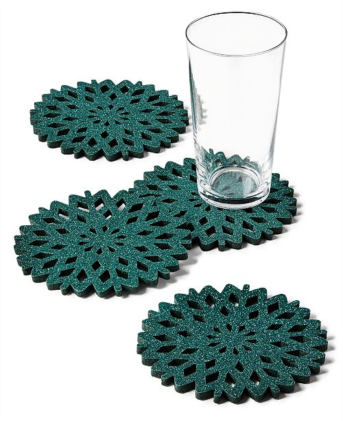 The Cellar CLOSEOUT! Green Glitter Snowflake Coasters, Set of 4, Created for Macy's