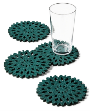 Closeout! The Cellar Green Glitter Snowflake Coasters, Set of 4, Created for Macy's