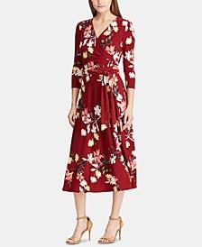 Floral-Print 3/4-Sleeve Jersey Dress