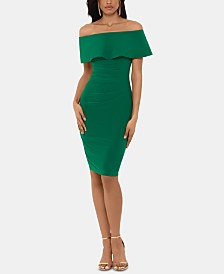X by Xscape Off-The-Shoulder Sheath Petite Dress