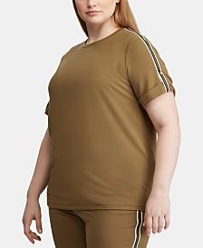 Lauren Ralph Lauren Plus Size Track-Stripe T-Shirt