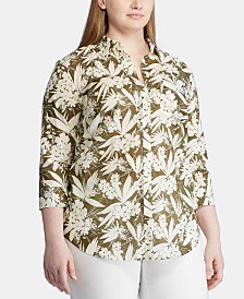 Lauren Ralph Lauren Plus Size Floral-Print Cotton Button-Down Shirt