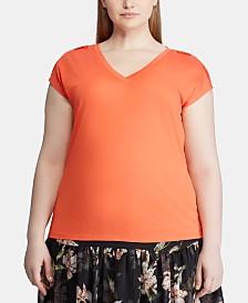 Lauren Ralph Lauren Plus Size Lace-Up Short-Sleeve Top