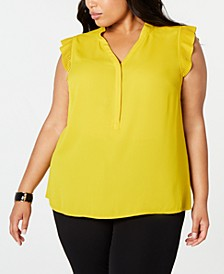 Plus Size Pleat-Detail Blouse, Created for Macy's