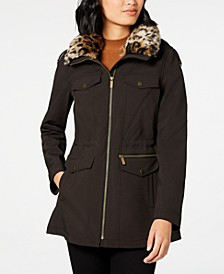 Leopard-Print Faux-Fur-Trim Hooded Raincoat