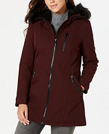 Hooded Faux-Fur-Trim Raincoat