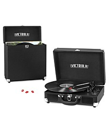 Record Player Bundle Includes a 3-Speed Turntable, Record Storage Case and Replacement Needles