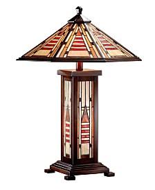 Dale Tiffany Woodruff Mission Tiffany Table Lamp with Night Light