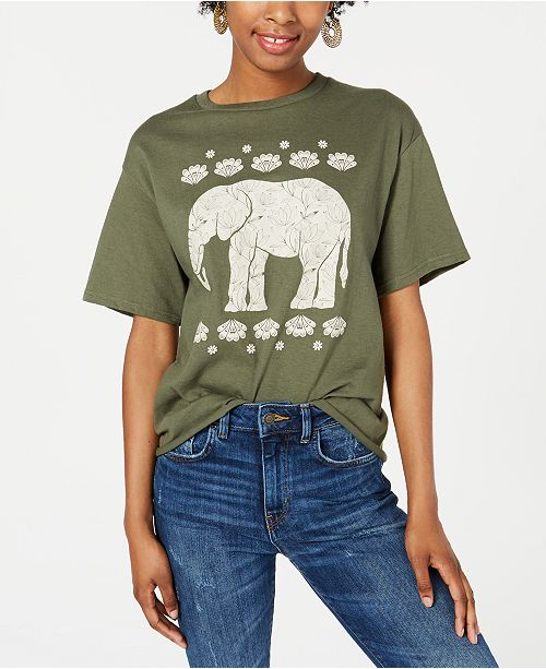 Mighty Fine Juniors' Cotton Elephant Lotus Graphic T-Shirt