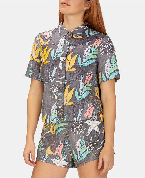 Hurley Juniors' Domino Printed Camp Shirt