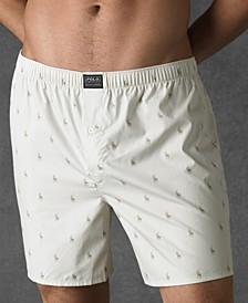 폴로 랄프로렌 속옷 하의 Polo Ralph Lauren Mens Underwear, Allover Pony Woven Boxers