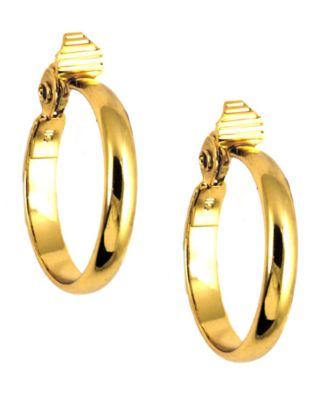 Image of Anne Klein Gold-Tone Glass Stone Medium Width Hoop Earrings