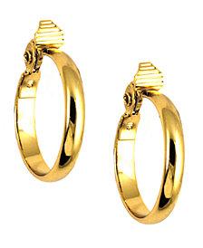 Anne Klein Gold-Tone Glass Stone Medium Width Hoop E-Z Comfort Earrings