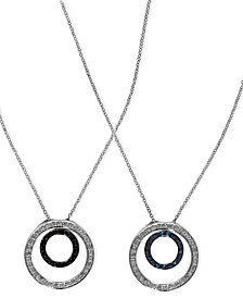 Diversa by EFFY Blue and Black Diamond Reversible Pendant (1/3 ct. t.w.) in 14k White Gold