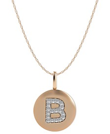 14k Rose Gold Necklace, Diamond Accent Letter B Disk Pendant