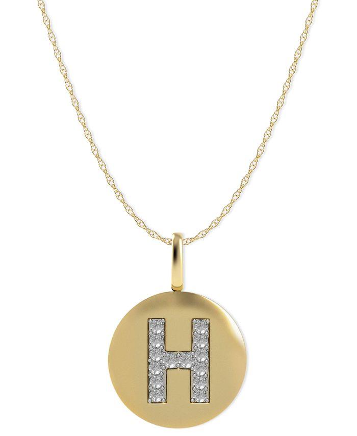 Macy's - 14k Gold Necklace, Diamond Accent Letter H Disk Pendant