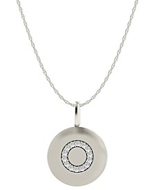 14k White Gold Necklace, Diamond Accent Letter O Disk Pendant