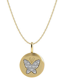 Diamond Butterfly Disk Pendant Necklace in 14k Gold (1/10 ct. t.w.)