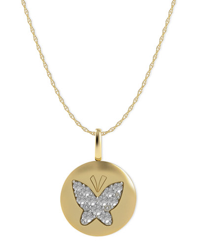 Diamond butterfly disk pendant necklace in 14k gold 110 ct tw diamond butterfly disk pendant necklace in 14k gold 110 ct tw aloadofball Images