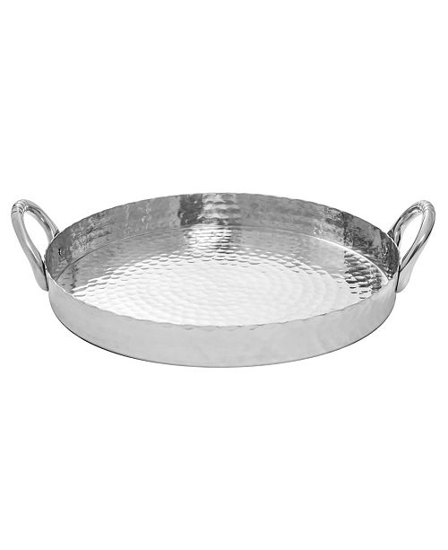 """St. Croix KINDWER 17"""" Round Hammered Scalloped Tray"""