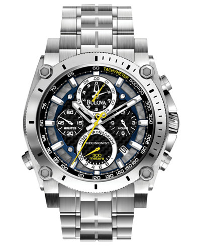 Bulova Men's Chronograph Precisionist Stainless Steel Bracelet Watch 47mm 96B175