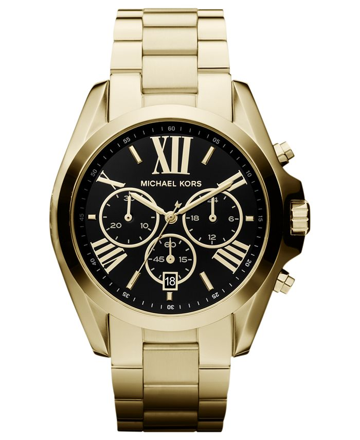 Michael Kors - Women's Chronograph Bradshaw Gold-Tone Stainless Steel Bracelet Watch 43mm MK5739 - First @ Macy's!