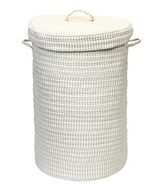 Ticking Solid Braided Hamper with Lid