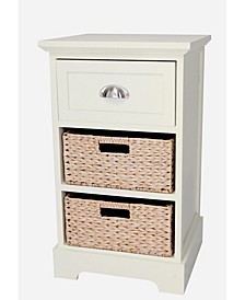 Newport One Drawer Two Basket Table, Quick Ship