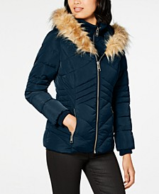 Faux-Fur-Trim Hooded Puffer Coat, Created for Macy's