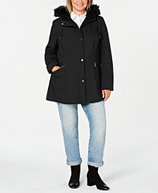 French Connection Plus Size Zip-Front  Water Resistant  Hooded Raincoat
