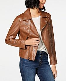 Asymmetrical Faux-Leather Jacket
