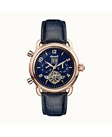 New England Automatic with Rose Gold IP Stainless Steel Case, Blue Dial and Blue Croco Embossed Leather Strap