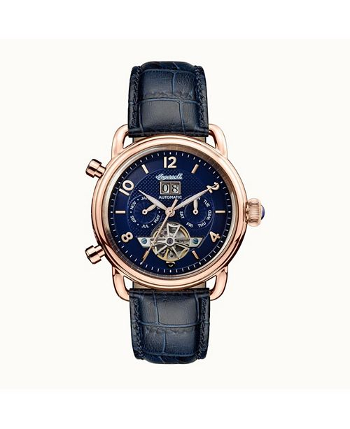 Ingersoll New England Automatic with Rose Gold IP Stainless Steel Case, Blue Dial and Blue Croco Embossed Leather Strap