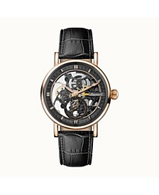 Herald Automatic with Rose Gold IP Stainless Steel Case, Skeleton Dial and Black Croco Embossed Leather Strap