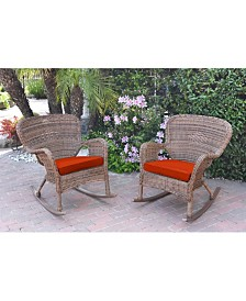 Jeco Windsor Resin Wicker Rocker Chair with Cushion - Set of 2 - OVER-MAX