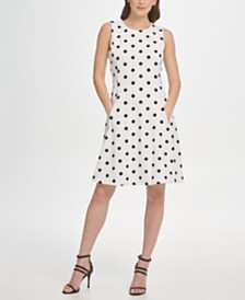 DKNY Polka-Dot Fit-and-Flare Dress