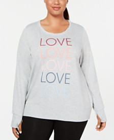 Ideology Plus Size Love Graphic Long-Sleeve Top, Created for Macy's