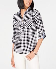 Cotton Checkered Zip-Neck Top