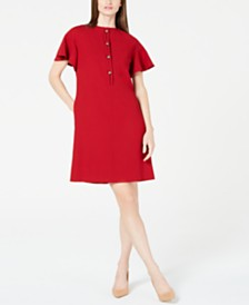Elie Tahari Flutter-Sleeve Shift Dress